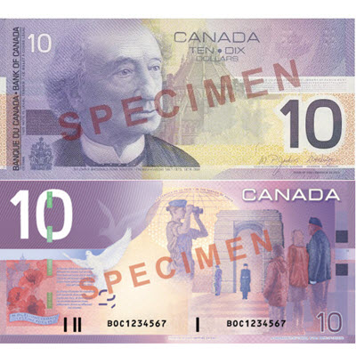 10 dollars canadiens
