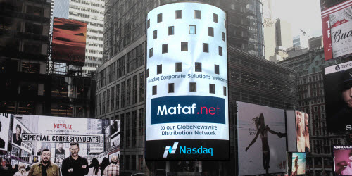 Mataf on the Nasdaq Tower in New York's Time Square.